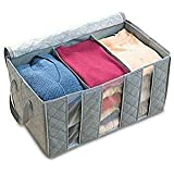 Soptool Under Bed Organizer with 3 Grid Each Foldable Keep Blanket Pillow in Bag