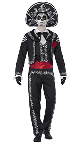 Smiffys Adult men's Day of the Dead Señor Bones Costume, Jacket, trousers, Mock Shirt and Hat, Day of the Dead, Halloween, Size M, 43738