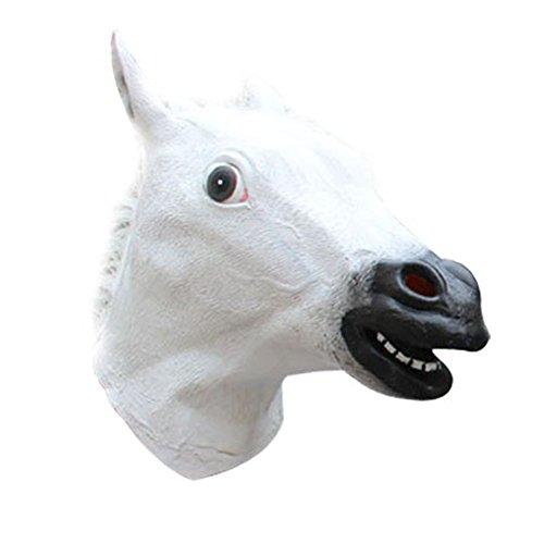squerade Maske Kostüm Party Pferde Kopf Maske Weiß (Wolf Frau Halloween Kostüm)