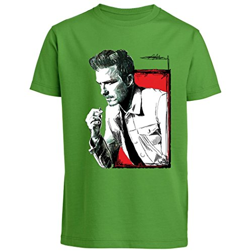 pushertees-t-shirt-bambino-verde-ltb-10-sportivo-calciatore-football-manchester-inglese-old-glory-sp