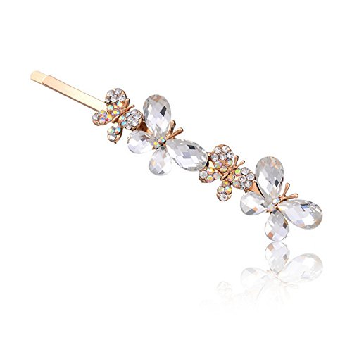 Five Season 1PC Barrettes a Cheveux Clips Fastueux Diamante Forme Papillon pour Femme 8,5 *2cm Blanc