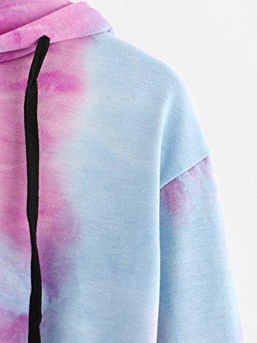 Donna Lnverno Autunno Hooded Pullover Felpa Manica Lunga Casual Elegante Stampa Corta Felpe con Cappuccio Blu