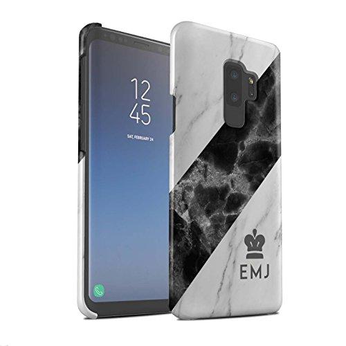 Stuff4® Personalisiert Individuell Marmor Matte Hülle für Samsung Galaxy S9 Plus/G965 / Silber Krone/Schärpe Design/Initiale/Name/Text Snap-On Schutzhülle/Case/Etui