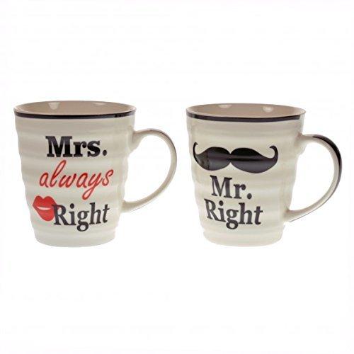 Das 2er Set Mr. Right und Mrs. always Right Kaffeebecher in Geschenkverpackung von Out of the blue