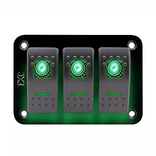 Semoic 12V-24V-3-Gang-Toggle-Rocker-Switch-Panel-Gruen-LED-Licht-On-Off-Car-Marine-Boot -