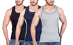 White Moon 999 Gym Vest - Pack of 3 (Black_Blue_Gray_90)