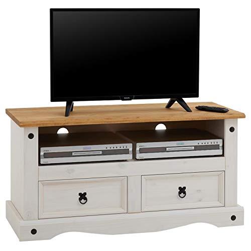 CARO-Möbel TV Lowboard Campo Fernsehtisch Mexiko Stil Kiefer massiv, 2 Schubladen, 1 offenes Fach braun/weiß (Schublade Dvd Fach)