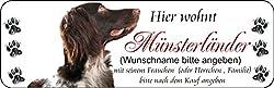 """"""" Hier wohnt Münsterländer (Wunschname) mit seinem Frauchen """" Hunde-Deko Schilder Türschild Vintage Schild lustige Dekoschilder Wanddeko Wandschild Holzschild Geschenk"""