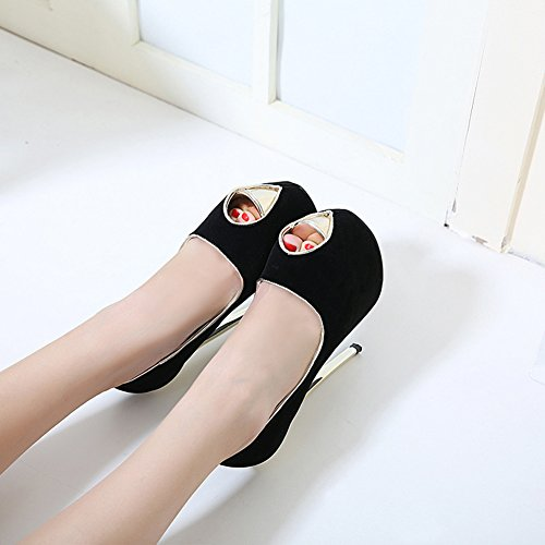 Aisun Damen Sexy Peep Toe Plateau Low Top Stiletto Ultra High Heels Klub Sandale Schwarz