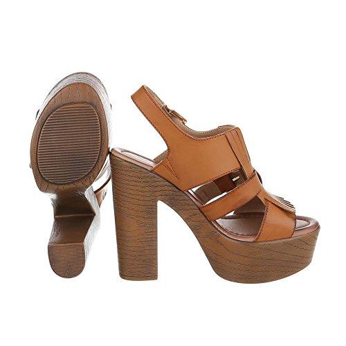 High Heel Sandaletten Damenschuhe Plateau Pump High Heels Schnalle Ital-Design Sandalen / Sandaletten Camel