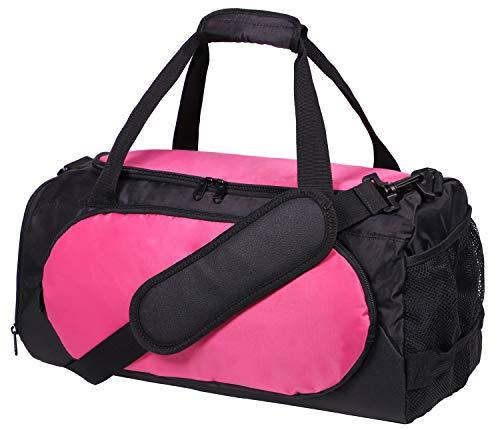 MIER Gym Bag Sport Duffel per uomini e donne con compartimento per scarpe, 25L,Rosa