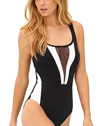 Qiusa Frauen Sport One Piece Badeanzüge Racer zurück Schwimmen Kostüm Bademode (Farbe : Schwarz, Größe : XL)