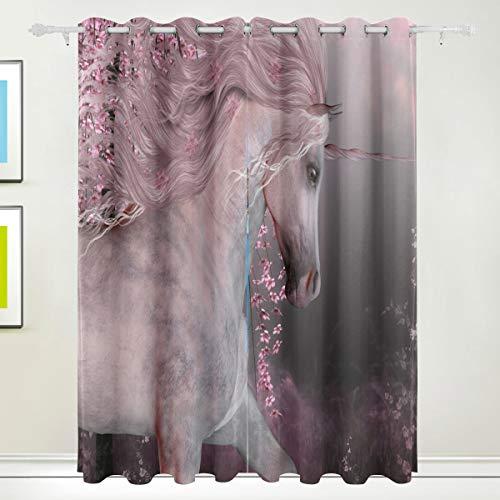 XiangHeFu Morden Blackout Vorhänge mit Tülle Oben Sakura Kirschblüte Unicorn Lake Vorhänge Set aus 2 Panels, jeweils 55W x 84L Zoll für Home Living Bedroom Office (84-zoll-dusche Vorhang Braun)