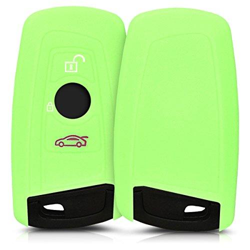 kwmobile BMW Autoschlüssel Hülle - Silikon Schutzhülle Schlüsselhülle Cover für BMW 3-Tasten Funk Autoschlüssel (nur Keyless Go) Hellgrün