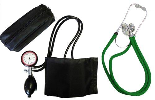 Blutdruckmessgerät Blutdruckmesser Oberarm Gold 2 + Rappaport Doppelschlauch Stethoskop grün Doppelkopf Tiga-Med K 2 II Qualität