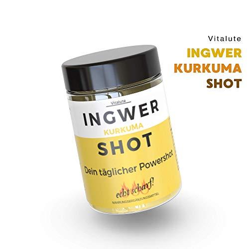 30 Ingwer Shots mit Kurkuma zum Mitnehmen -30 Shots pro Dose- Ohne Zucker -Trinkpulver mit Ingwer, Curcumin, Cayenne, Zink, Vitamin C & Vegan