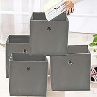 Preisvergleich für JUEYAN 4 Stück Faltbox Faltbare Aufbewahrungsbox Stoff Faltkiste Grau mit Fingerloch 32 x 32 x 32 cm für Raumteiler oder Regale