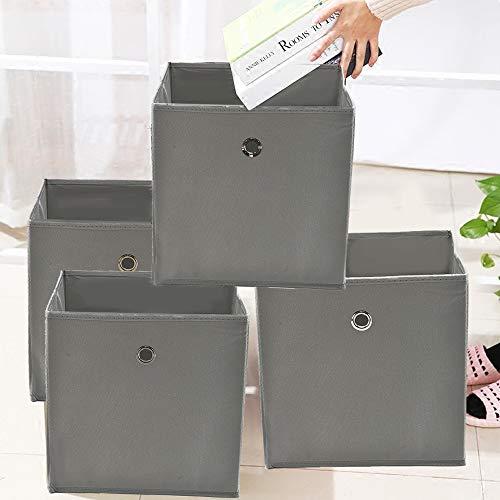 faltboxen stoff JUEYAN 4 Stück Faltbox Faltbare Aufbewahrungsbox Stoff Faltkiste Grau mit Fingerloch 32 x 32 x 32 cm für Raumteiler oder Regale
