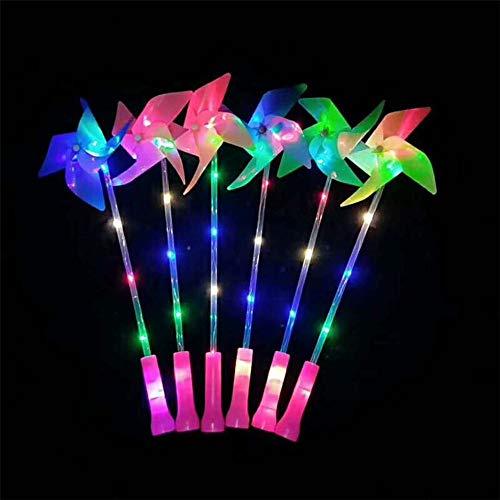 Lfives-hm Leuchtstab Glühende Windmühle Wind Spinner Yard Garten Ornamente Dekor Kinder Spielzeug Outdoor-Geschenk-zufällige Farbe (10 PSC) für Glow Party Supplies