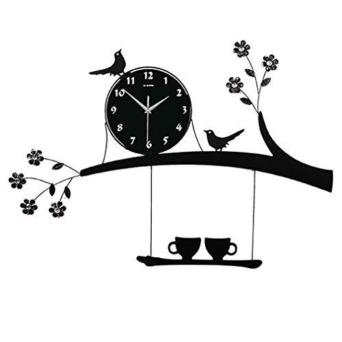 L Y Kreative Persönlichkeit Wohnzimmer Wanduhr Mode Garten Uhr Ikea Mute Hause Quarzuhr Vogel Uhr,Ein,20 Zoll
