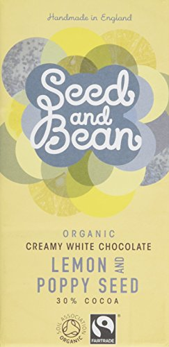 Seed and Bean Organic Lemon and Poppy Seeds Creamy White Chocolate Bar 85 g (Pack of 4)