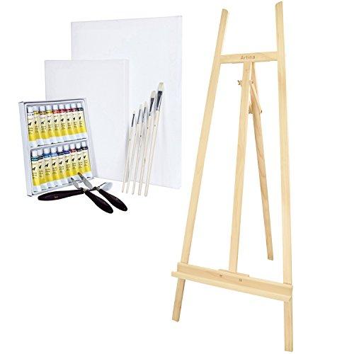 Set di pittura con pregiato cavalletto professionale Sevilla, in legno di pino, Artina + set di colori acrilici basic