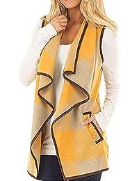 0f95c4d6144 Lazzboy Gilet Waistcoat Womens Tartan Plaid Sleeveless Vest Jacket Cardigan  UK 6-20 Plus Size