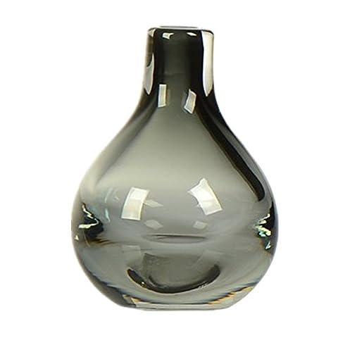 Artisanat à la main Vase solide en verre soufflé coloré Créatif Simple (Gris)
