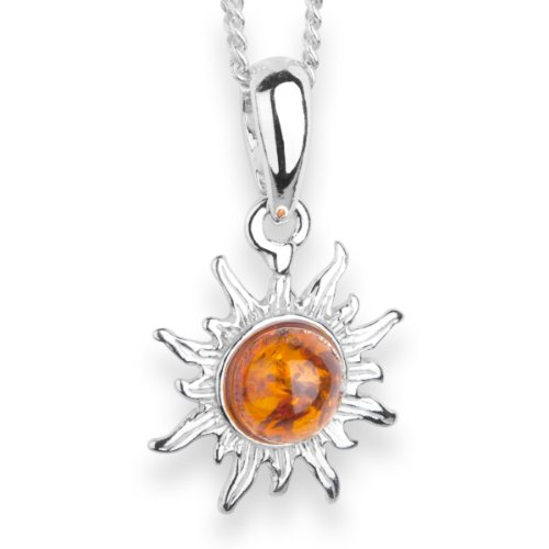 InCollections Damen-Halskette Sonne 925 Sterling Silber 1 Bernstein gelb 42 cm