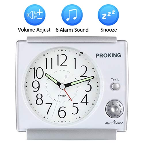 Ayybboo Reveil Matin Analogique Volume R/églable R/éveil /à Piles Silencieux R/éveil Original Snooze avec Lumineux Blanche