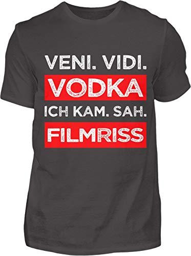 Kreisligahelden T-Shirt Herren Lustig Veni Vidi Vodka - Kurzarm Shirt Baumwolle mit Spruch Aufdruck - Karneval Party Junggesellenabschied Fun Saufen Vodka (XXL, Anthrazit)