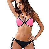 TWIFER Damen Bikini Triangel Slip Badeanzug Push Up Neckholder Strandanzug (S-2XL)