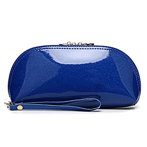 Santwo Candy Color Flashing Pu Mixed Function Mini Cosmetic Bag/coin Purse/leather Wallet/evening Bag/travel Mini Storage/hand Hold Small Bag for Women (deep blue) - Cuore Canvas Tote