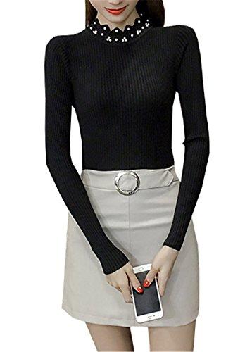 JOTHIN 2017 Donna Autunno Corea Collo alto a Balze Manica lunga Maglia Camicioni Tinta Unita strette Casual Maglioni Slim Fit Eleganti fasciante Maglieria Nero