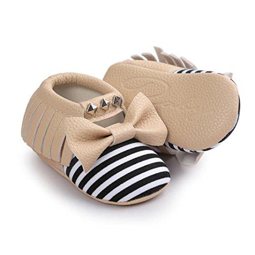 BZLine® Unisexe Bébé Bowknot Chaussures en Coton | Semelle Plate en Tissu | Frange Rivet Chaussures Souples Kaki