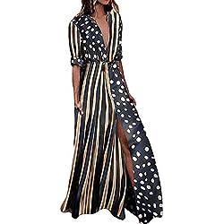 Vestido Largo Bohemia Ropa de Mujer Media Manga Moda Vestido de Fiesta Falda Recta con Cuello en V Impresión de Puntos (M, Negro)