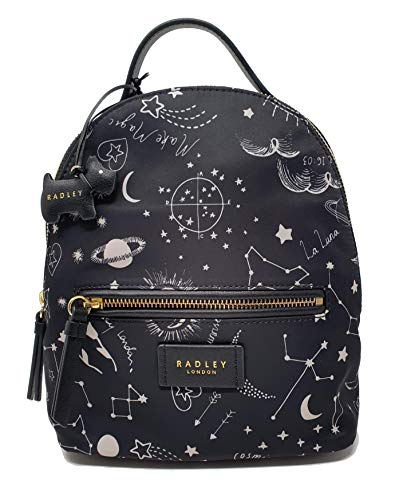 Radley Cosmic Love Rucksack mit Reißverschluss, klein, Polyester, Schwarz