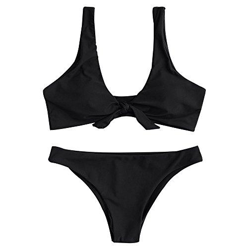 ZAFUL Damen Badeanzug Knoten Scoop Neck Bikini Set