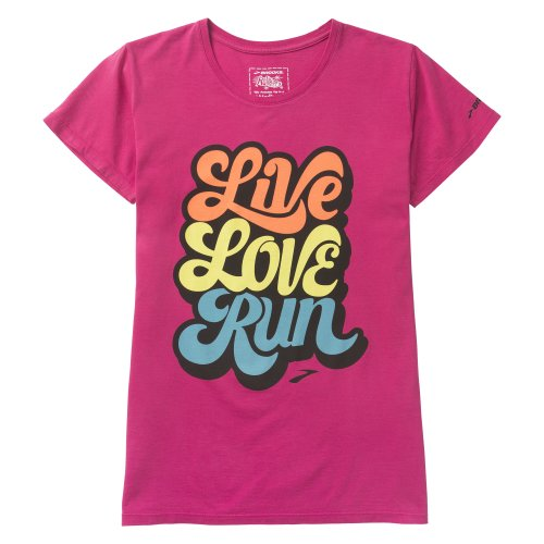 Brooks Damen Live Love Run Shortsleeve Oberbekleidung, Pink, XL (Brooks Kurze Bekleidung Training)