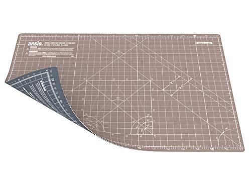 Ansio a3 5 strati di tappetino da taglio a doppia faccia imperiale/metrico auto-guarigione 17 x 11 pollici (44 x 29 cm) - marrone/grigio