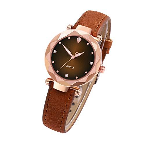 Skryo Luxusuhren Quarzuhr Edelstahl Zifferblatt Casual Armband Uhr (Kaffee) -