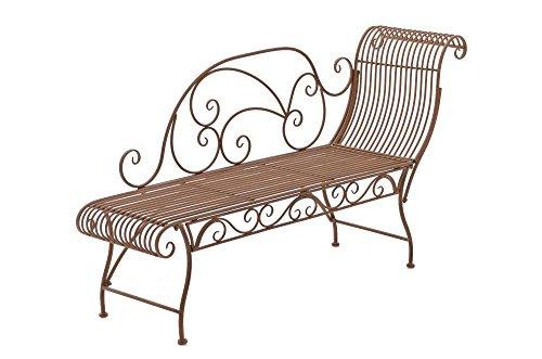 SIKALO Gartenbank zum liegen, antikes-Design, Farbe Antik-Braun - stabile Metallgartenbank mit schönen Formen
