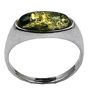 Grun Bernstein Sterling Silber Marquise Geformt Winzig Ring