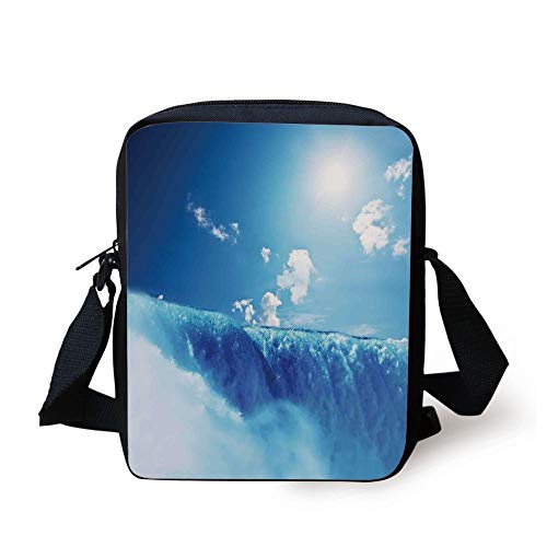 Waterfall,Niagara Falls and Clear Sky Landscape Image Majestic River Nature Theme Artistic Print,Blue Print Kids Crossbody Messenger Bag Purse (Coach Tablet-fall)