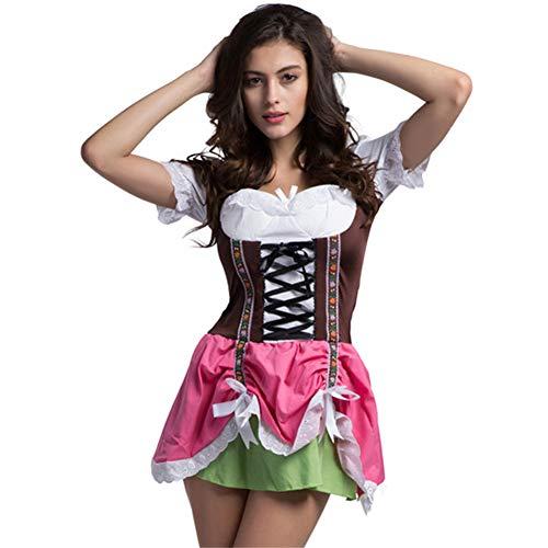 Hallowmax Damen Oktoberfest Trachtenkleid Munich Tracht Karneval Kostüm Blumen Schleife Hübsch Elegant