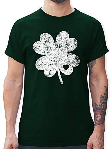 St. Patricks Day - Vintage Kleeblatt mit Herz - M - Dunkelgrün - L190 - Herren T-Shirt ()