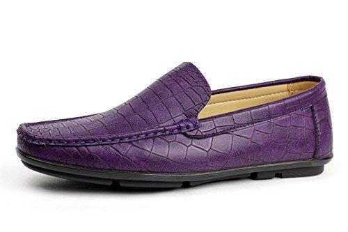 Lila Sportlich Schick GB Stil Slipper ohne Mokassin Muster Albertini Größe Fahren Bügel Schuhe Herren Krokodil nB8wZz6Zqa