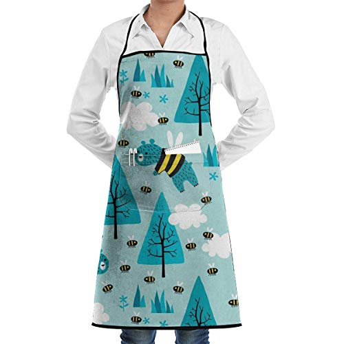 Drempad Schürzen Bears Trying to Be Bees Adjustable Kitchen Chef Apron with Pocket and Extra Long Ties, Commercial Men & Women Bib Apron for Cooking, Baking, Crafting, Gardening, -