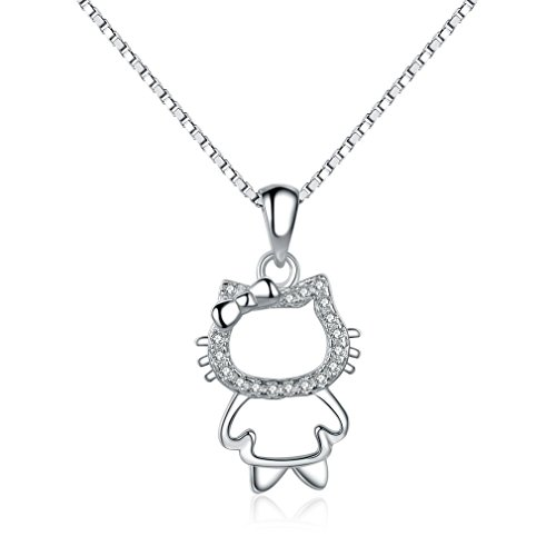 In argento Sterling 925 con Brillante Hello Kitty-Collana con ciondolo placcata in platino con catena