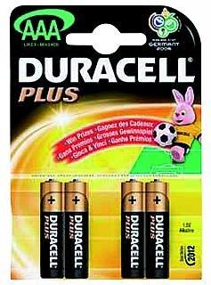 Micro-Batterie DURACELL Plus 1,5V, Typ AAA, 4er Blister